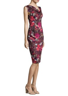 Black Halo Jackie O Rose-Print Sheath Dress