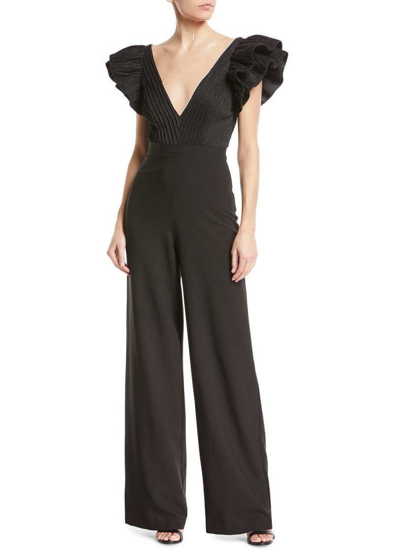 034aea7c228 On Sale today! Black Halo Jenny V-Neck Ruffle-Sleeve Jumpsuit