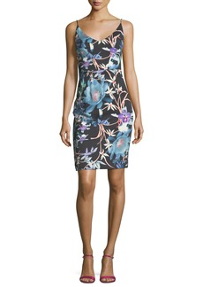 Black Halo Jevette Floral-Print Sleeveless V-Neck Cocktail Dress