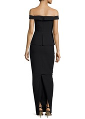 Black Halo La Reina Off-the-Shoulder Gown
