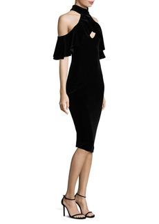 Black Halo Lambert Cocktail Cold-Shoulder Sheath Dress