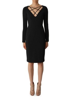 Black Halo Masca Long Sleeve Sheath Dress