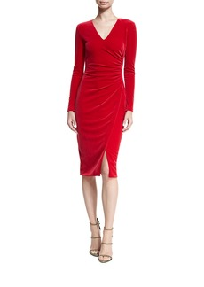 Black Halo Miramar Long-Sleeve Velvet Sheath Dress