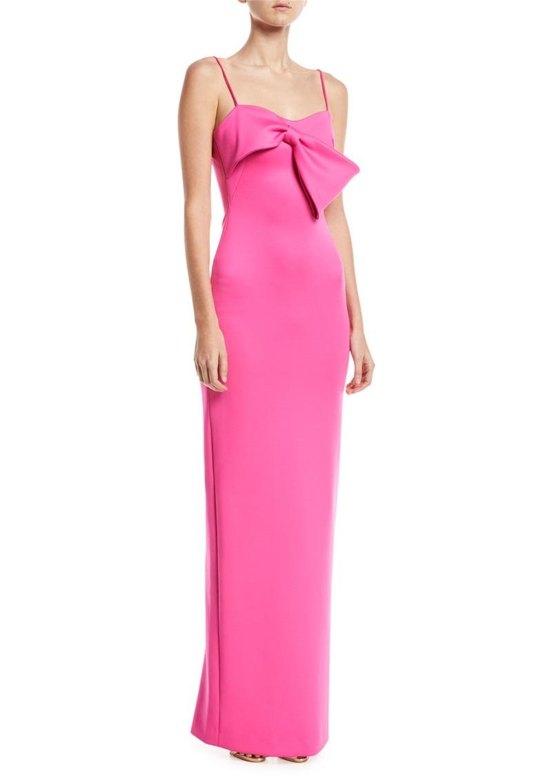 Black Halo Monroe Sleeveless Column Gown w/ Bow Detail