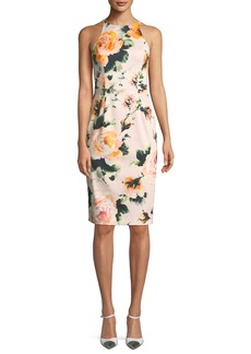 Black Halo Montego Rose-Print Halter Sheath Dress