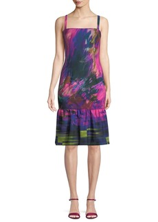 Black Halo Nala Watercolor-Print Dress w/ Ruffle Hem