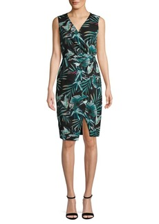 Black Halo Normal Tropical-Print Sheath Dress
