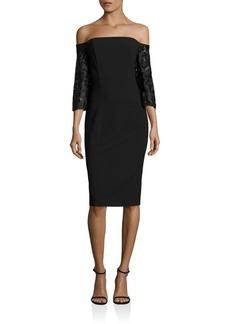Black Halo Off-the-Shoulder Embroidered Dress