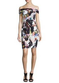 Black Halo Off-the-Shoulder Floral Sheath Dress