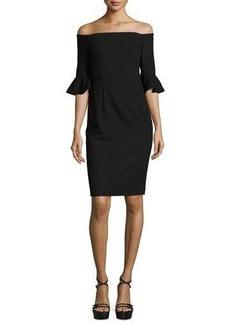 Black Halo Off-the-Shoulder Ponte Sheath Dress
