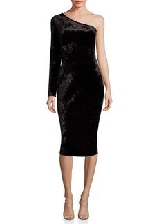 Black Halo One-Shoulder Textured Dress