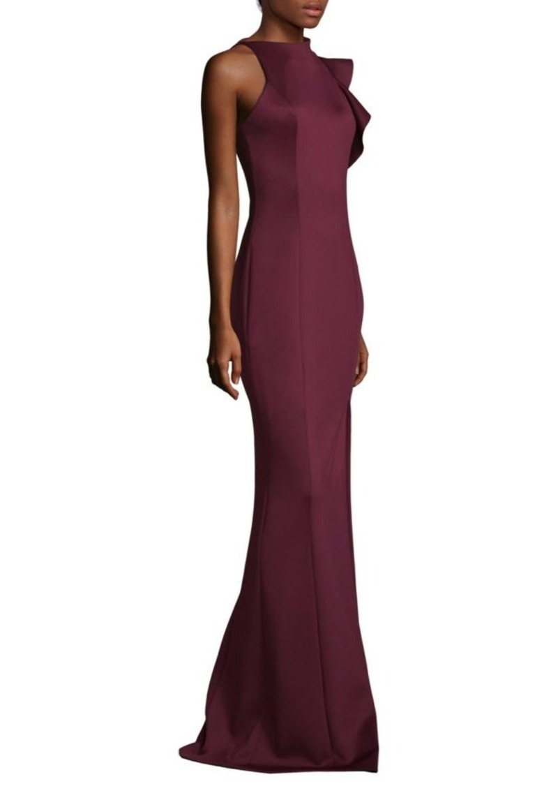 SALE! Black Halo Pabla Front High Slit Floor-Length Sheath Gown