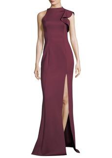 Black Halo Pabla Neoprene Sleeveless Evening Gown w/ Slit