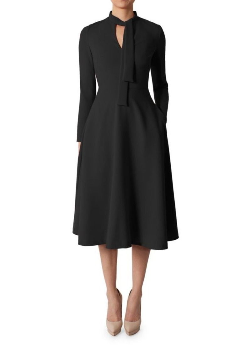 Black Halo Princeton Tie Neck Fit And Flare Dress Dresses I Headband