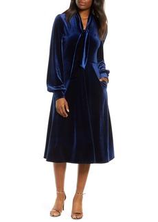 Black Halo Ruby Tie Neck Velvet Dress