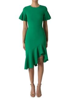 Black Halo Ruffle Short Sleeve Dress