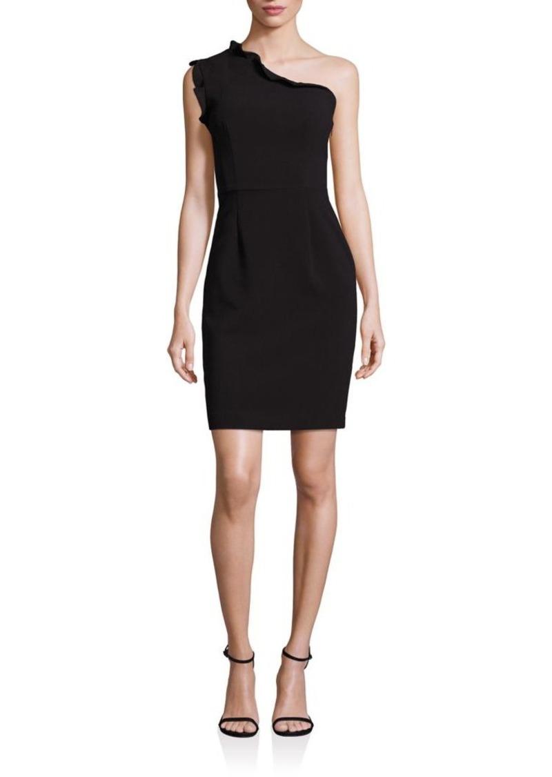 Black Halo Ruffled One-Shoulder Sheath Dress