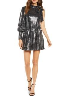 Black Halo Sequin One-Shoulder Minidress