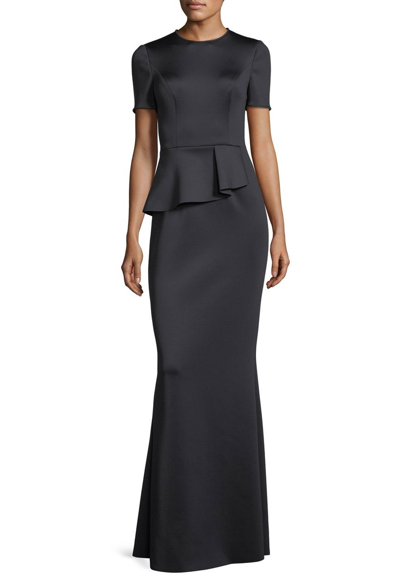 Black Halo Short-Sleeve Peplum Neoprene Evening Gown | Dresses