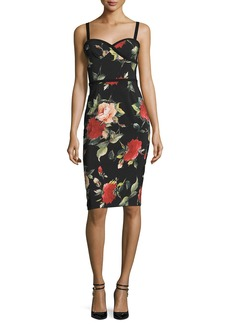 Black Halo Sleeveless Floral Sweetheart Sheath Dress
