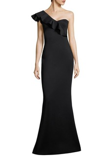 Black Halo Tailored-Fit Carmel One-Shoulder Gown
