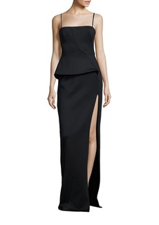 Black Halo Tia Neoprene Peplum Gown