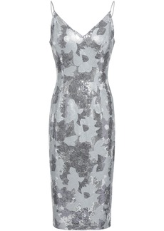 Black Halo Woman Embellished Floral-print Woven Dress Silver