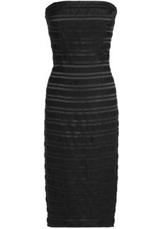 Black Halo Woman Barker Strapless Plissé Satin-jacquard Dress Black