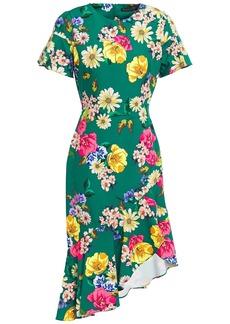 Black Halo Woman Breelle Asymmetric Ruffled Floral-print Crepe Dress Green