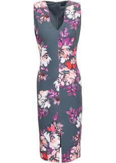 Black Halo Woman Floral-print Cady Dress Anthracite