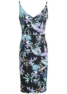 Black Halo Woman Floral-print Cady Dress Black
