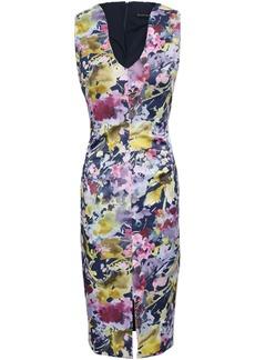 Black Halo Woman Floral-print Satin-twill Dress Lilac