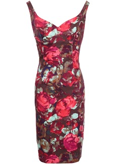 Black Halo Woman Floral-print Stretch-cotton Twill Dress Burgundy