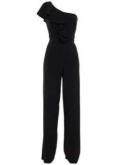 Black Halo Woman Kallan One-shoulder Ruffled Cady Wide-leg Jumpsuit Black