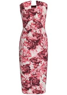 Black Halo Woman Lena Strapless Floral-print Crepe Dress Pink