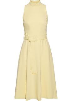 Black Halo Woman Lylah Belted Cady Dress Pastel Yellow