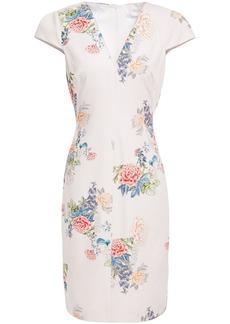 Black Halo Woman Maisie Floral-print Stretch-cady Dress Ivory