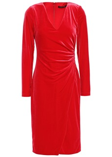 Black Halo Woman Miramar Wrap-effect Ruched Velvet Dress Red