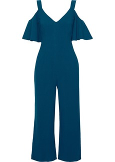 Black Halo Woman Monaco Cropped Cold-shoulder Ruffled Cady Jumpsuit Petrol