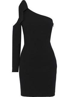 Black Halo Woman One-shoulder Bow-embellished Cady Mini Dress Black