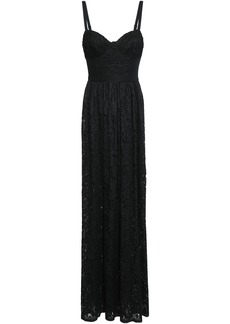 Black Halo Woman Pleated Lace And Cady Maxi Dress Black