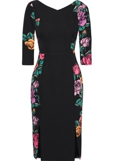 Black Halo Woman Prism Paneled Floral-print Cady Dress Black