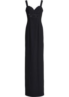 Black Halo Woman Rosalita Floral-appliquéd Cutout Crepe Gown Black