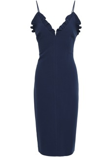 Black Halo Woman Ruffle-trimmed Cady Dress Navy