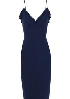 Black Halo Woman Ruffle-trimmed Crepe Dress Navy
