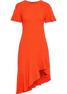 Black Halo Woman Ruiz Asymmetric Ruffled Crepe Dress Tomato Red