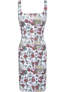 Black Halo Woman Sequined Floral-print Stretch-jersey Mini Dress White