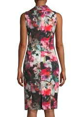 Black Halo Blaze Floral-Print Asymmetric Sheath Dress