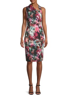 Black Halo Blaze Floral-Print Asymmetric Sheath Dress