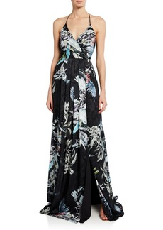 Black Halo Blidge Burnout Printed V-Neck Sleeveless Gown